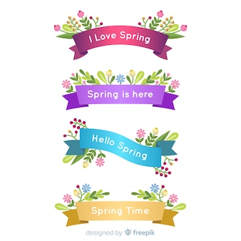 Shiny spring ribbon set