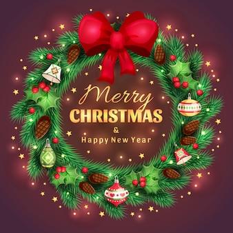 金色の挨拶と光沢のあるトウヒのクリスマスリースメリークリスマスと新年あけましておめでとうございます