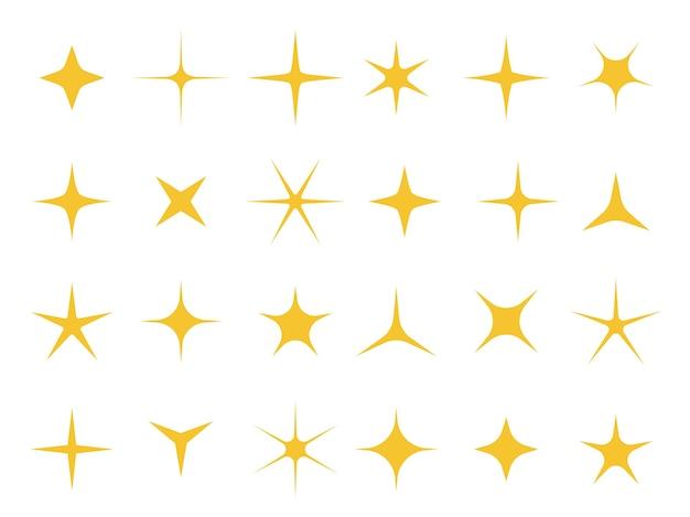 빛나는 별. 스파클 라이트, 밝은 별 및 반짝임 모양