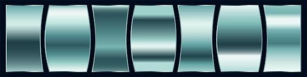 光沢のあるスチールまたはシルバーのプレミアムグラデーション見本パレットセット