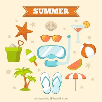 光沢のある夏の要素コレクション