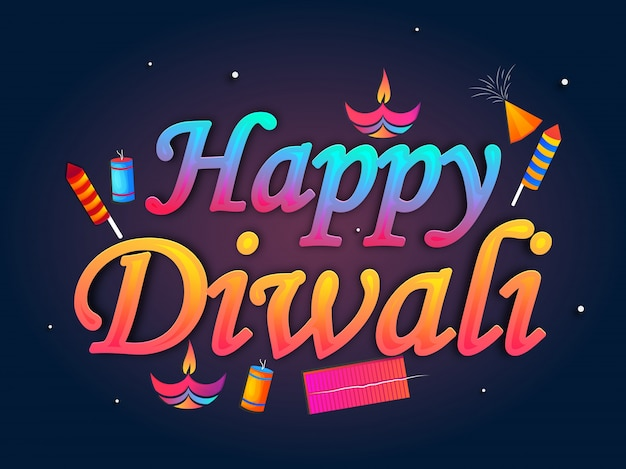 Shiny text happy diwali with illuminated oil lit lamp and fire crackers on blue background.