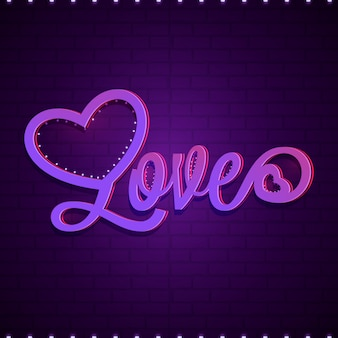 Shiny text love on purple brick wall background.