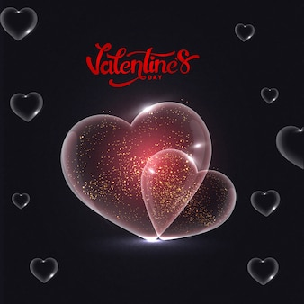 Shiny transparent heart shapes on black background with stylish