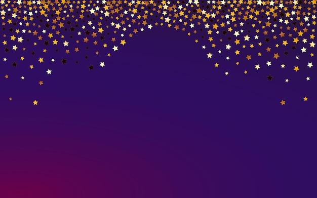 빛나는 우주 벡터 보라색 배경입니다. 반짝 떨어지는 비 그림. 별이 빛나는 빛 질감. 노란색 크리스마스 스타 패턴입니다.
