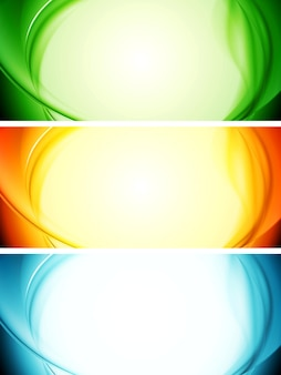 Shiny wavy abstract banners. vector illustration