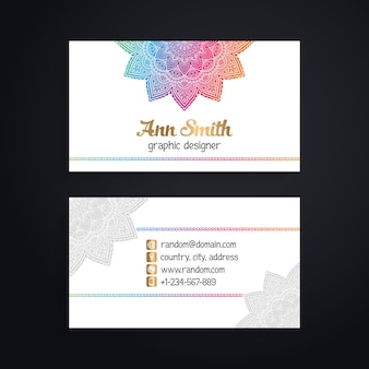 Shiny white business card with colorful mandala