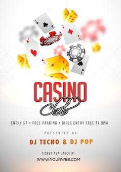 Shiny white casino club poster or flyer design.