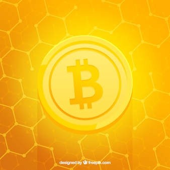 Shiny yellow bitcoin background