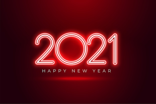 Shiony red neon 2021 happy new year celebration background