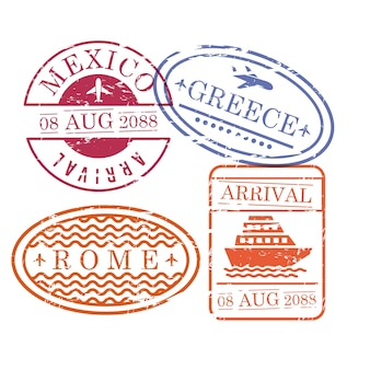 Ship and airplane travel stamps
