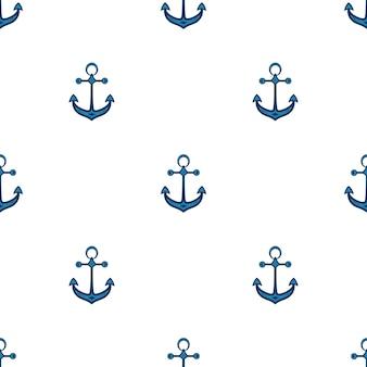 Корабельный якорь. фон в морском стиле. бесшовные модели. можно использовать в качестве обоев, оберточной бумаги, текстиля.