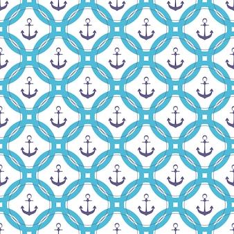 동그라미에 선박 앵커입니다. 해양 완벽 한 패턴입니다.