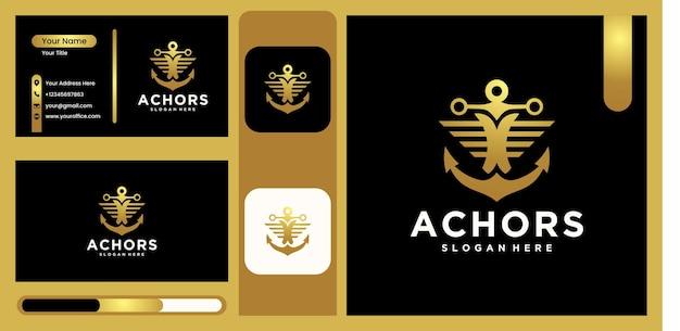 선박 앵커 로고, 고급스럽고 트렌디한 골드 색상으로 해상을 위한 선원 로고 디자인 로고를 위한 벡터 일러스트레이션 앵커 디자인