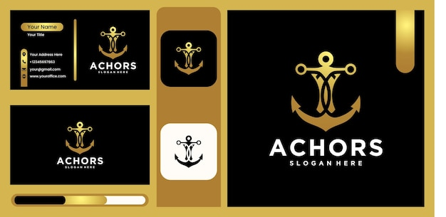 Ship anchor logo, vector illustration anchor design for sailor logo design logo for maritime with luxury and trendy gold color