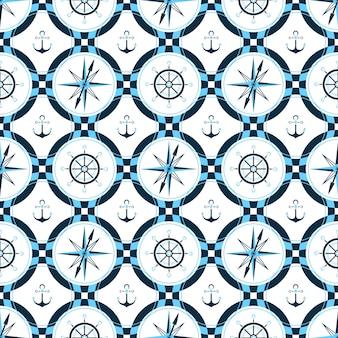 선박 앵커, 스티어링 휠, 나침반. 포장지, 벽지, 마린 스타일의 직물을 위한 매끄러운 인쇄 패턴 디자인