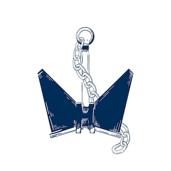 Ship anchor with chain vector illustration. nautical vessel mooring device, ship accessory, boat attribute isolated on white background. monochrome sailing symbol, sailor tattoo idea.