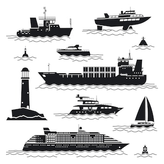 船とボートのセット。ライナーとコンテナ、貨物船とブイ、灯台とヨット
