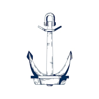 Ship armature vector illustration. anchor, boat mooring device. vessel accessory, holding raft in place item, liner attribute. monocolor metal construction isolated on white background.