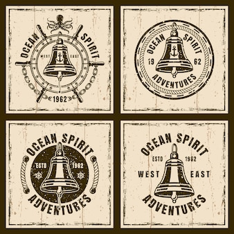 Ship bell nautical vector vintage emblems, labels, badges on background with textures
