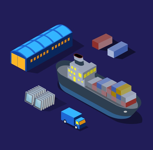 The ship boat factories, warehouses industry night illustration