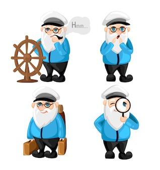 Ship captain in uniform on sea cartoon sailor characters set captain different facial expressions. happy sad smile surprised, serious and other emotions. simple  illustration.