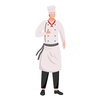 Ship chef flat  illustration. cruise service. cooking. shipboard staff in chef's tunic and cap isolated cartoon character on white background