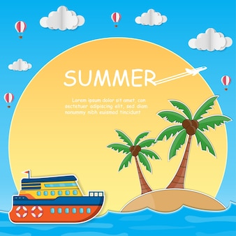 Ship and coconut tree with sea in summer time.