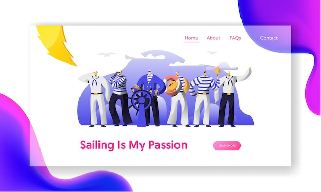 Ship crew male characters in uniform website landing page.