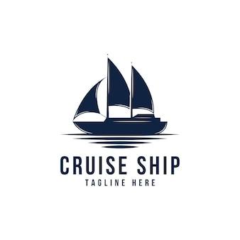 船、クルーズ、マリンのロゴデザインのインスピレーションベクトル
