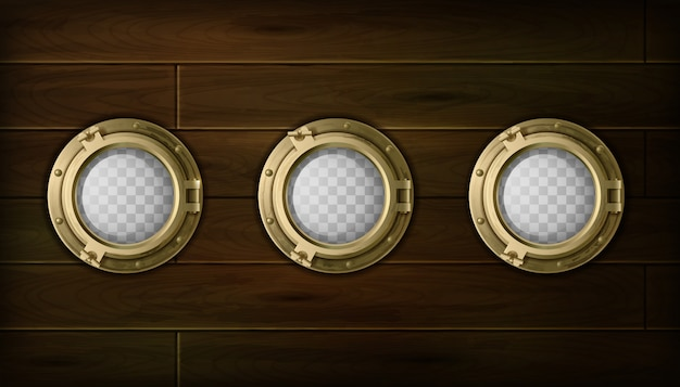 Ship golden  portholes cartoon set with wooden sides vector illustration