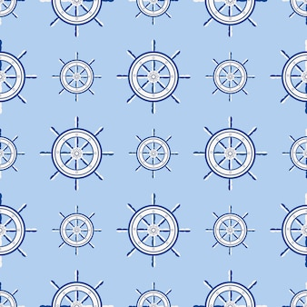 Ship helm seamless pattern marine boat wheel. vector yacht boat navigation with silhouette of steering wheel illustration