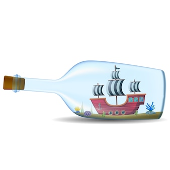 Ship in the bottle on white background