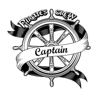 Ship insignia vector illustration. vintage wooden rudder with pirate crew captain text.
