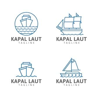 Корабль линия логотип парусная лодка океанские волны корабль