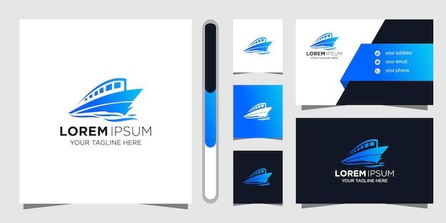 Корабль дизайн логотипа и шаблон визитной карточки.