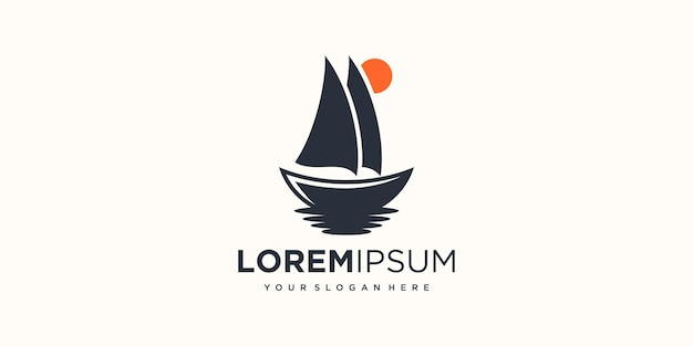Ship logo icon for adventure and travel company