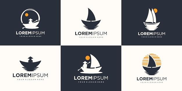 船のロゴアイコンセットデザインベクトルイラスト。