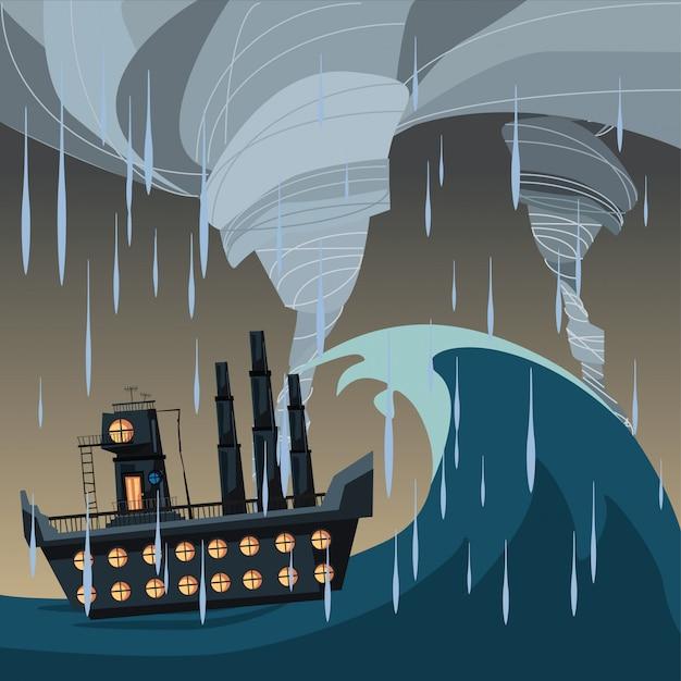Ship in ocean in storm weather vector illustration