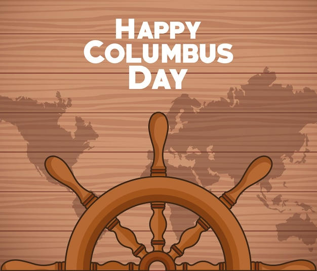 Ship rudder and happy columbus day design