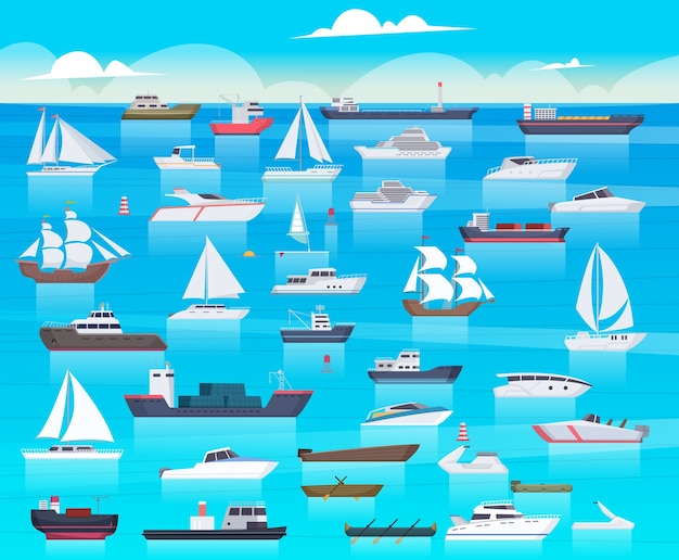 Ship in sea. sailing boats and passenger cruise ship travel in ocean cargo submarine and yacht background cartoon