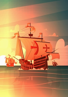 Ship in sea on sunset happy columbus day national usa holiday concept