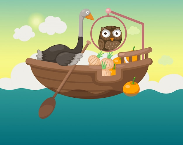 Ship in the sea with owl and ostrich