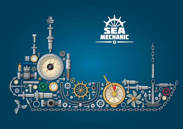 Силуэт корабля и навигационное оборудование с гребным винтом и якорем, цепью и рулем, телеграфом управления двигателем, иллюминаторами и штурвалом, системой рулевого управления, барометром и шаровыми кранами. дизайн морской механики
