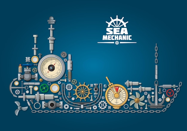 Ship silhouette and nautical equipment with propeller and anchor, chain and rudder, engine order telegraph, portholes and helm, steering system, barometer and ball valves. sea mechanic design