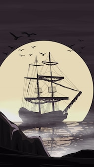 The ship stands in the port against the moon going beyond the horizon.