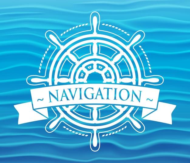 Корабль рулевое колесо корпоративная эмблема с баннером. векторная иллюстрация.