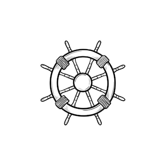 선박 핸들 손으로 그린 개요 낙서 아이콘. 탐색, 조타 장치 및 방향타, 해상 장비 개념