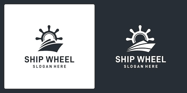 Ship steering wheel inspiration and abstract boat shape. premium vector