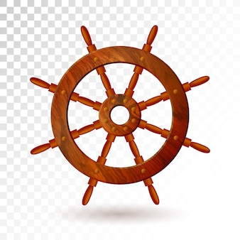 Ship steering wheel isolated on transparent background.